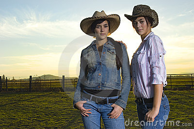 Twin cowgirls in a coral