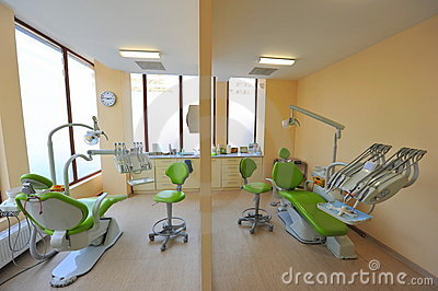 Twin dental treatment chairs - dentists office