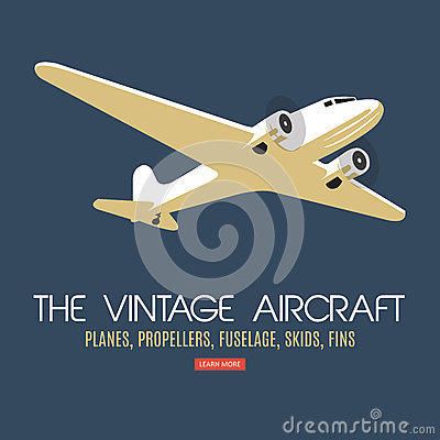 Free Twin Engine Passenger Plane. For Label And Banners. Stock Photo - 71143080