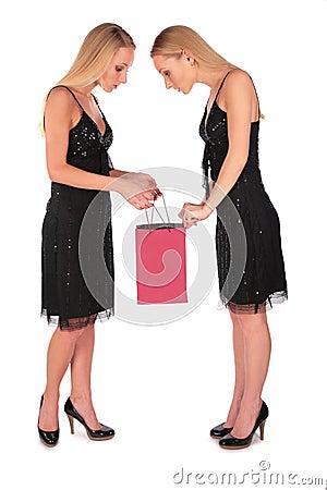 Twin girls looks in to bag