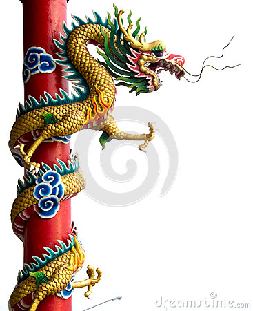 Free Twin Golden Chinese Dragon Wrapped Around Red Pole On Isolate Background. Royalty Free Stock Photo - 71597085