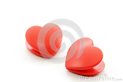 Twin heart on white background