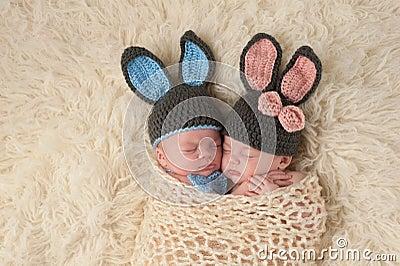 Twin Newborn Babies in Bunny Rabbit Costumes