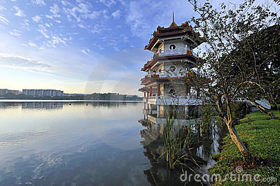 Twin Pagoda by the Lake