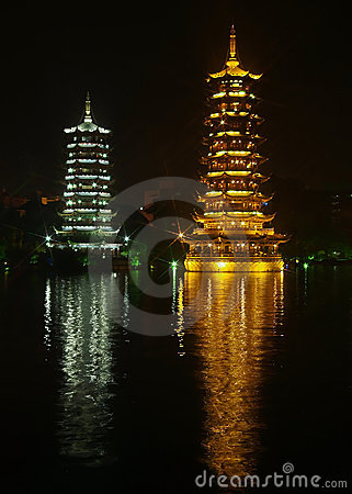 Twin pagodas with reflection in China