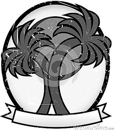Twin Palm Sun Badge Oval Banner Grayscale