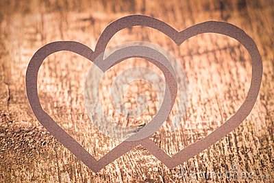 Twin Paper Heart on Wood . Valentines day card