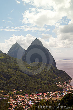 Twin pitons Soufriere St. Lucia Caribbean Sea