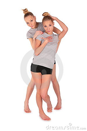 Twin sport girls posing