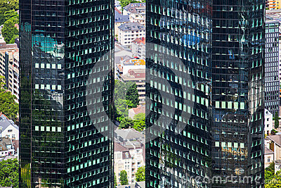 Twin towers of Deutsche Bank in Frankfurt, Germany Editorial Photo