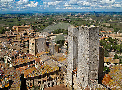 Twin towers in a medieval city, tuscany, italy