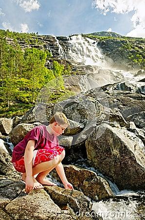 Twin waterfall in Norway.