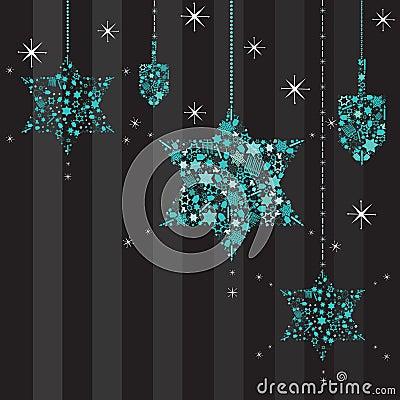 Twinkling Stars and Dreidels Hanukkah Card