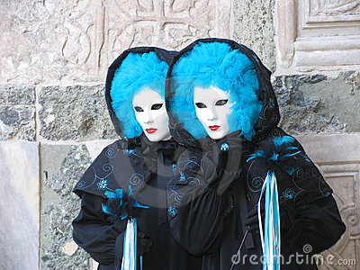 Twins in Carnival costumes & masks, Italy, Venice
