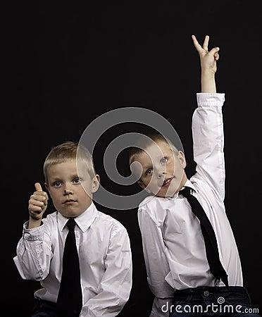 Twins gesturing