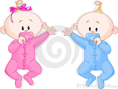 Twins hold the pacifiers