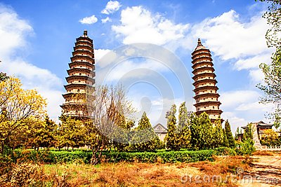 Twins pagodas-The old landmark of Taiyuan city