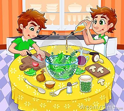 Twins are preparing a green salad.