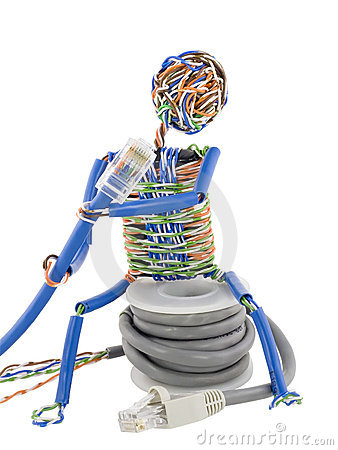 Free Twisted Man Looks On Patch Cable Royalty Free Stock Photography - 13718317