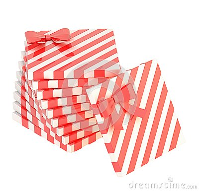 Free Twisted Pile Of Gift Boxes Isolated Stock Photography - 45022942