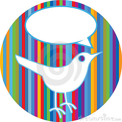 Twitter bird on colorful lines