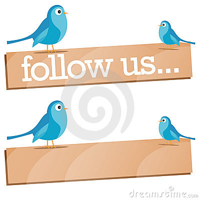 Twitter Bird with Follow Us sign