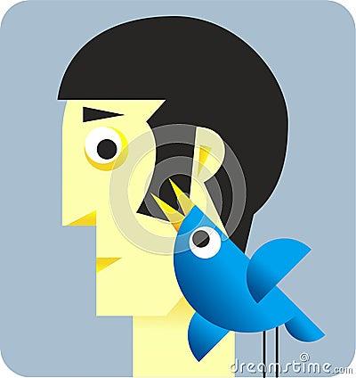 Twitter Bird with head