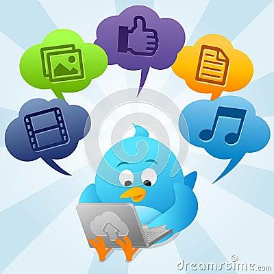 Free Twitter Bird Is Using Cloud Computing Royalty Free Stock Photo - 21385465