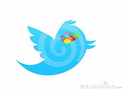 Twitter bird isolated in white with speech bubble Editorial Stock Image