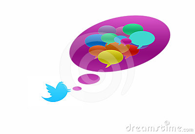 Twitter bird with speech bubble in various colors Editorial Stock Photo