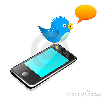 Twitter bird standing on a smartphone Editorial Photo