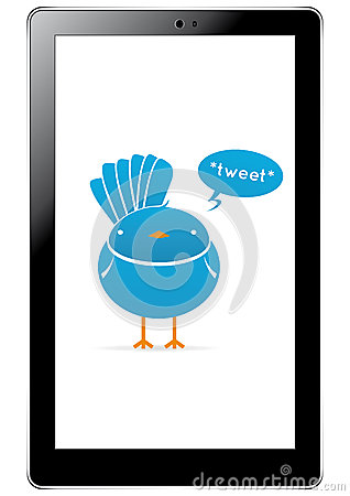 Twitter bird in tablet Editorial Image