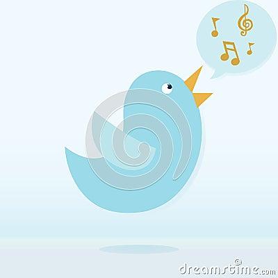 Twitter bird vector singing