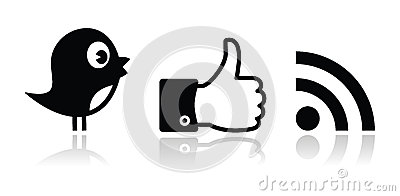 Twitter, Facebook, RSS black glossy icons set Editorial Image