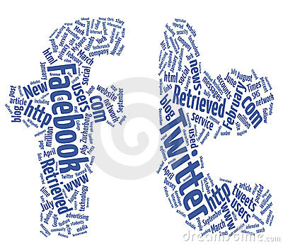 Twitter facebook word clouds Editorial Stock Image
