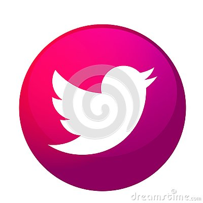 Free Twitter Logo Icon Bird Vector In Pink Element On White Background Royalty Free Stock Images - 139118979