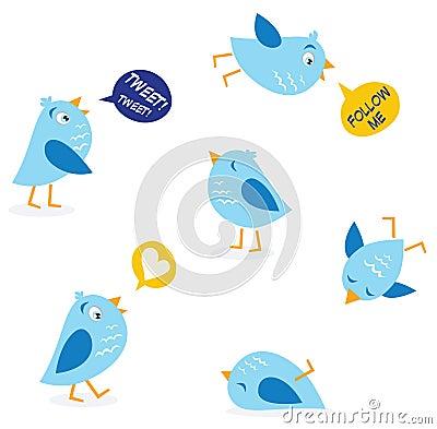Twitter message birds set