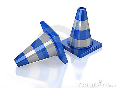 Two 3D blue stripped cones