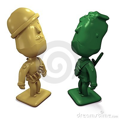 Two 3D enemy army men facing each other