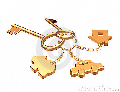 Two 3d gold keys with three labels