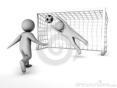 Two 3D soccer players and the gate