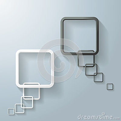 Two Abstract White And Black Rectangle Speech Bubble