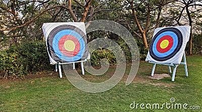Two adjascent archery range bulls eye targets