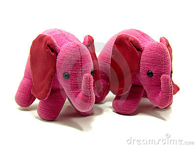 Two adorable pink elephant toys
