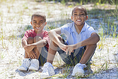 Two African American Boys Outside