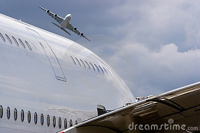 Two airbus a380 without any logo