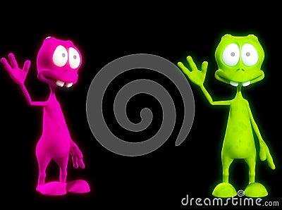 Two Alien s Waving 3