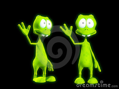 Two Alien s Waving