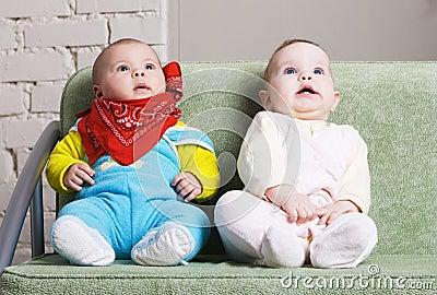 Two amazed babies