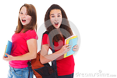 Two amazed teenage girls